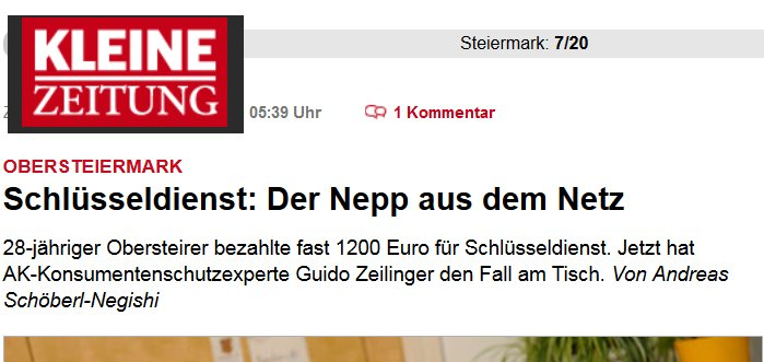 1200 Euro für einen Schlüsseldienst Einsatz. Eine Horrorsumme für wenige Minuten Arbeit!
