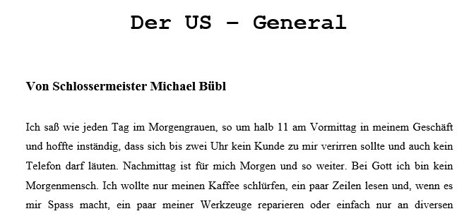 Us General, biometrisches Schloss
