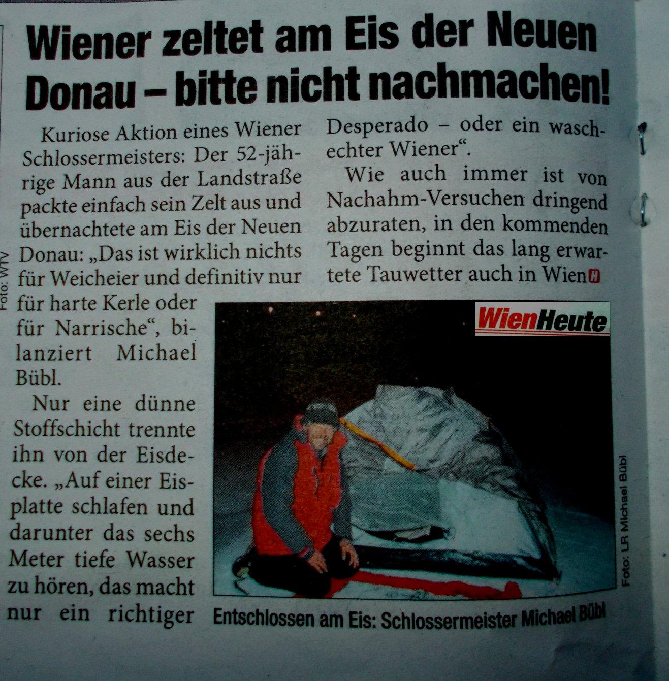 Wiener zeltet am Eis der Neuen Donau - Dieser Zeitungsbericht brachte grosses Echo!