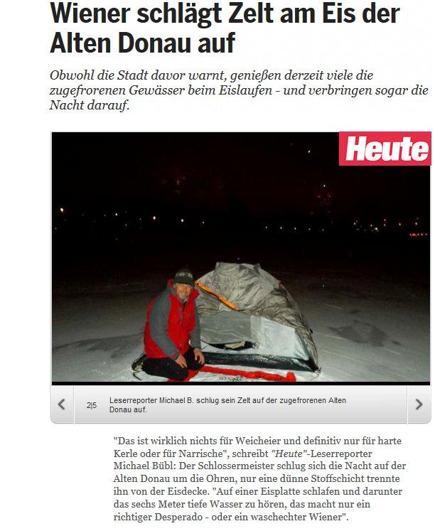 Mehr geht nicht mehr! Auf einem zugefrorenen See schlafen,  das lässt sich nicht mehr toppen! Im Hintergrund der Milleniumtower  von Wien
