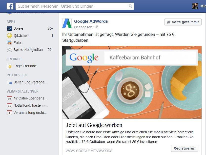 Ein äusserst interessantes Werbeinserat wurde erschien heute auf der Facbookseite des Herausgebers.  Google schaltet Werbung bei Facebook