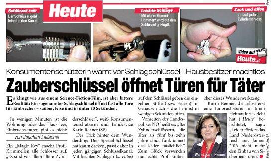 """Die österreichische Tageszeitung """"HEUTE"""" berichtet endlich über den Schlagschlüssel"""