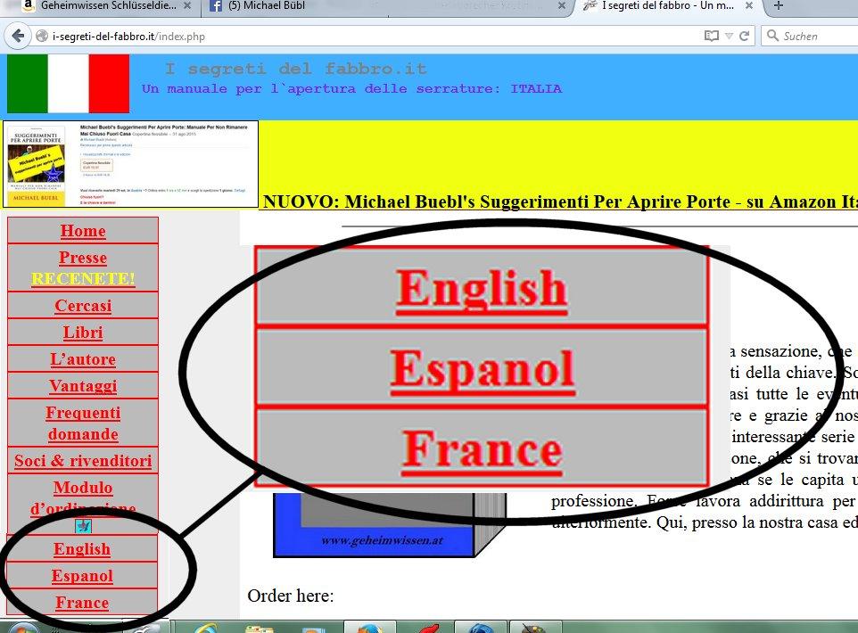 Die Website wurde einfach um drei Sprachen erweitert