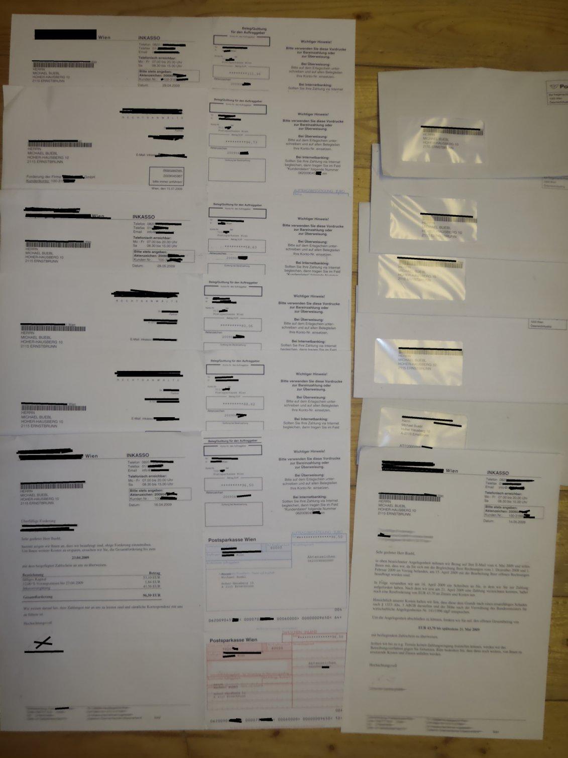 12 Briefe vom Injasso und Rechtsanwalt
