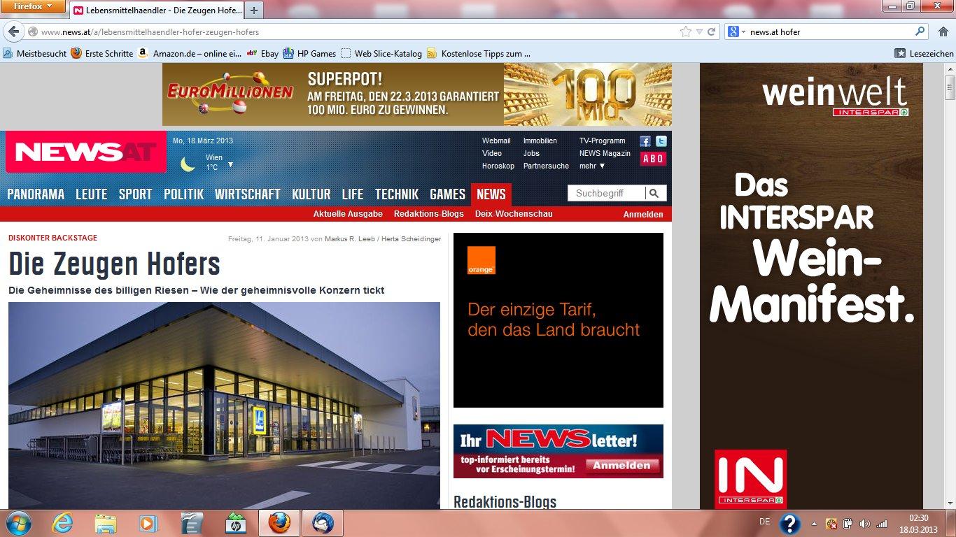 Nachrichtenmagazin News, Hofer