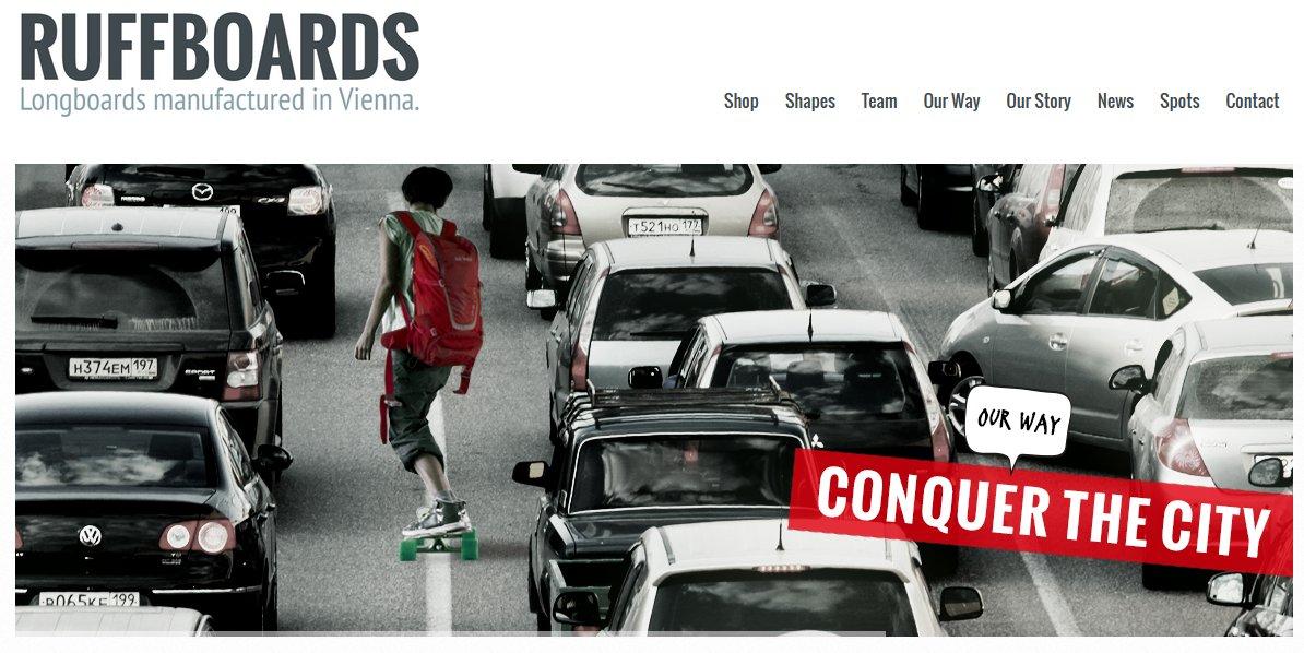 Unternehmer Power aus Wien:  Mit einem Ruffboard zwischen den Autos. Macht Spass!
