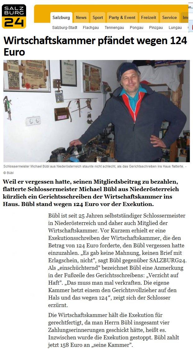 Online Medien wie salzburg24.at machen eine grossen Bericht über die Pfändung des österreichischen Schlossermeister Michael Bübl