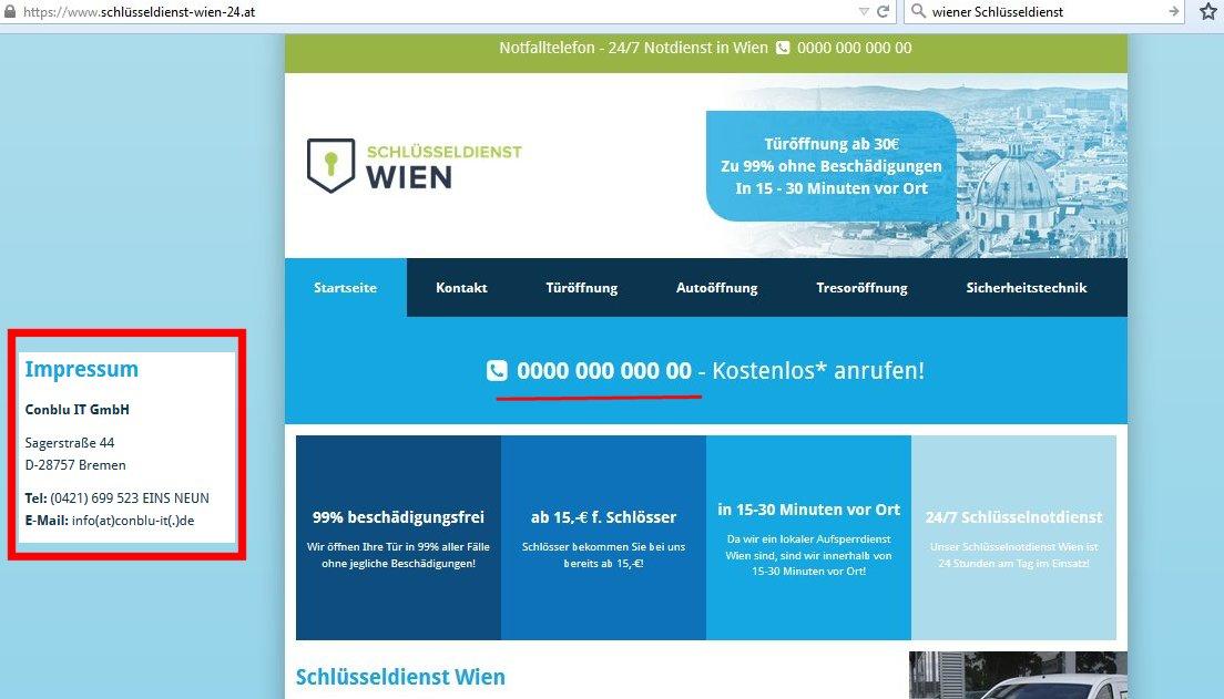 Die Telefonnummer wurde bereits nach wenigen Tagen gesperrt Seltsam! Ein Schlüsseldienst für Wien hat sein Impressum in Bremen