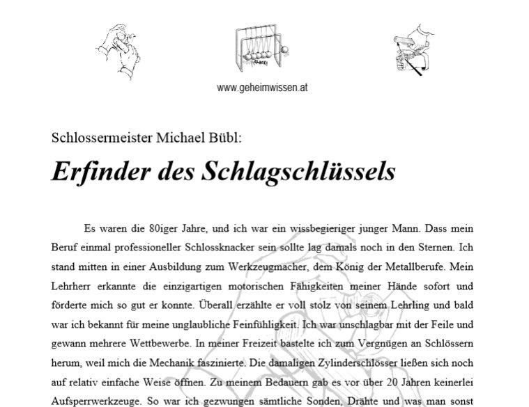 Michael Bübl hat vor dreissig Jahren bereits den gefährlichen Schlagschlüssel entdeckt