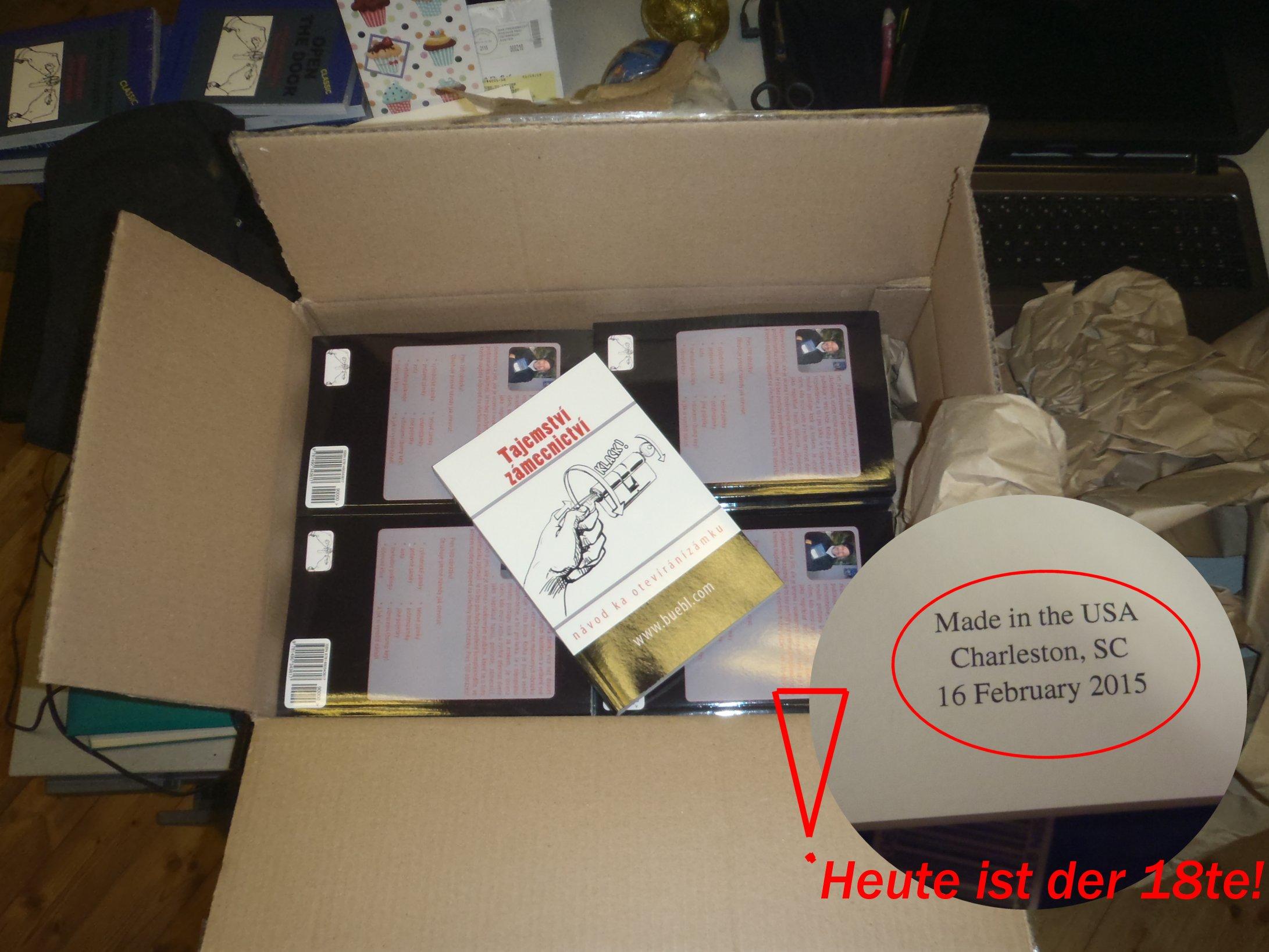 Ein karton Bücher in tschechischer Sprache Am 15ten Februar 1015 bestellt Am 16ten Februar in South Carolina (USA!) gedruckt Am 18ten Februar 2015 beim mir im Schlossernaus geliefert. 10 000 Kilometer!