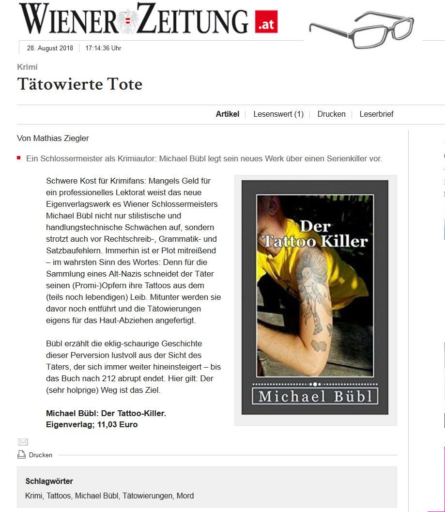 Die Wiener Zeitung bringt einen Artikel über einen Thriller, wie es in nur einmal gibt