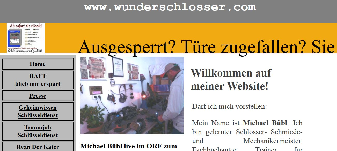 Seit kurzem erreichbar! www.wunderschlosser.com